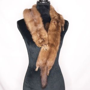 Vintage Real Fox Fur Stole Scarf Genuine Luxury